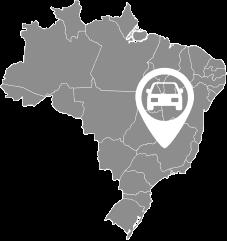 Mapa do Brasil contendo um icone sinalizando um estado, placa fora do estado de atendimento