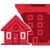 icone vermelho de residencia