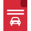 icone vermelho de documento com um carro dentro