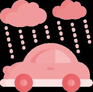 placa dok despachante, ilustração de um carro com uma nuvem chuvosa em cima