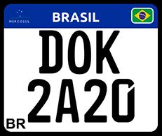 Ilustração de placa de moto escrito DOK 2020
