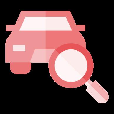 placa dok despachante, ilustração de um carro com uma lupa a frente