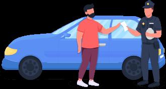 Ilustração de um oficial do trânsito multando uma pessoa