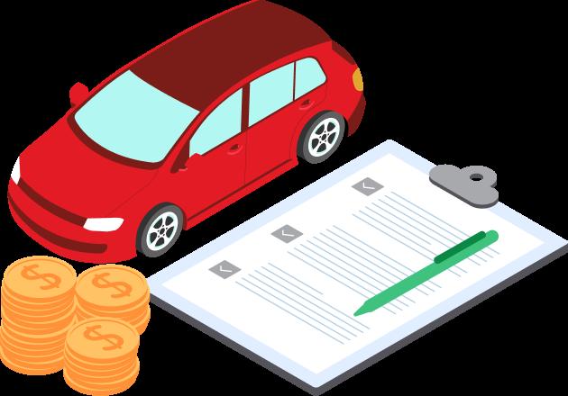 emprestimo com garantia de veiculo dok despachante - ilustração de moeda, documento e carro