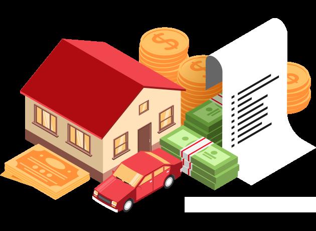 emprestimo com garantia de veiculo dok despachante - ilustração de casa e dinheiro