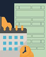 Ilustração de documento e uma agenda