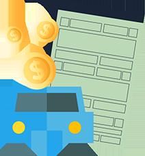 Carro com moedas e documento por trás