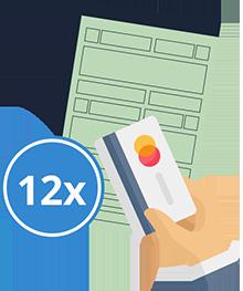 Documento e pagamento no cartão em até 12 vezes