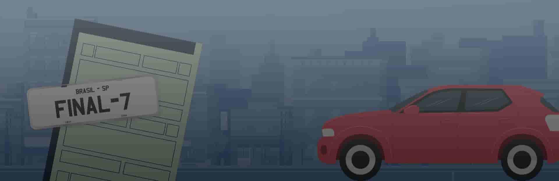 Licenciamento final 7, Ilustração de carro e placa