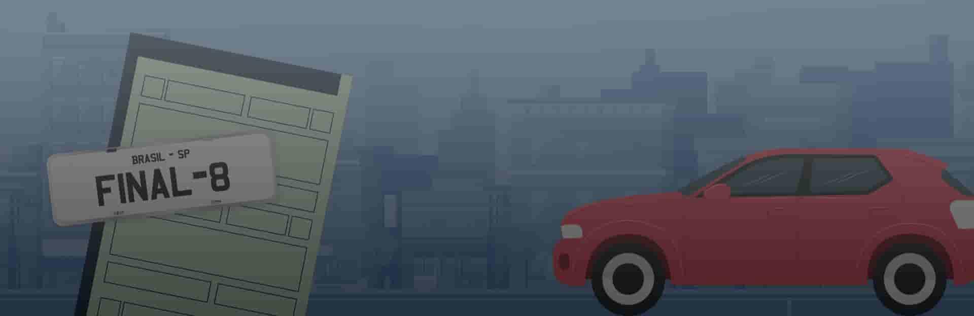 Licenciamento final 8, Ilustração de carro e placa