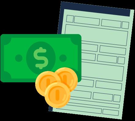 licenciamento final 8 dok despachante, ilustração de uma dinheiro e documento