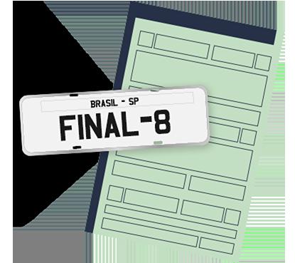 licenciamento final 8 dok despachante, ilustração de um documento e uma placa