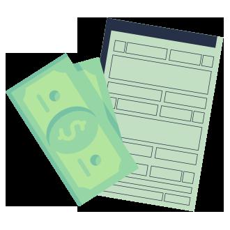 licenciamento pr DOK Despachante, illustração de um documento e dinheiro