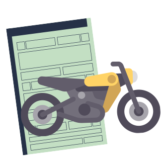 licenciamento pr DOK Despachante, illustração de um renavam e uma moto