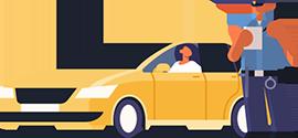 Carro e Guarda de Transito