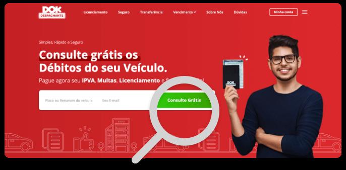 Multas Despachante Dok, imagem da página inicial do site com foco na consulta