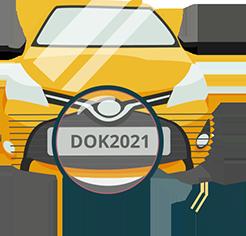 Ilustração de carro e lupa na placa DOK 2021