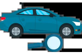 vistoria veicular DOK Despachante, ilustração de um carro com uma lupa