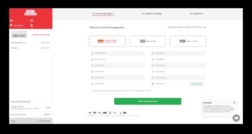 janela do navegador mostrando a pagina pagamento em orçamento do site