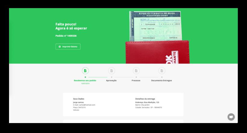 janela do navegador mostrando a pagina de pagamento do site