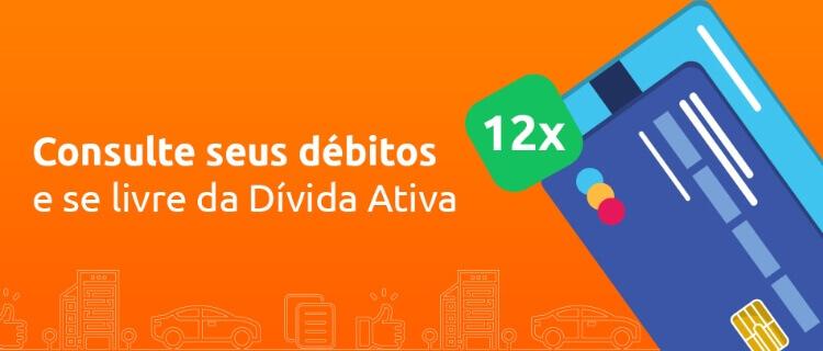 Dívida ativa DOK Despachante, banner com os dizeres consulte seus débitos e se livre da dívida ativa. 12x no cartão.