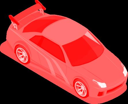 Illustração de carro esporte visto de cima