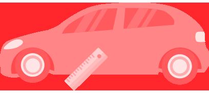 Carros rebaixados dok despachante, ilustração de carro e uma régua