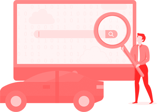 Illustração de uma pessoa segurando uma lupa em frente a um buscador de internet, com um veículo ao lado
