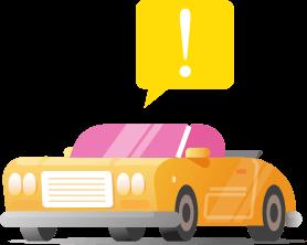 Illustração de um carro com um balão de alerta em cima