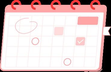 Illustração de um calendário com algumas marcações