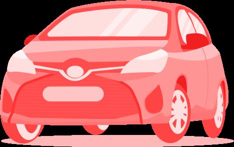 Illustração de um carro sem placa visto pela frente