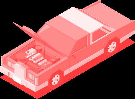 Illustração de carro com o capo aberto