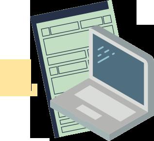 segunda via CRV dok despachante, illustração de um notebook