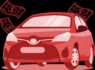 Ilustracao carro com notas ao redor