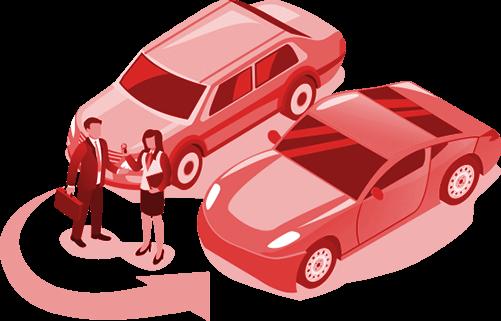 Ilustracao de duas pessoas ao em frente a dois carros