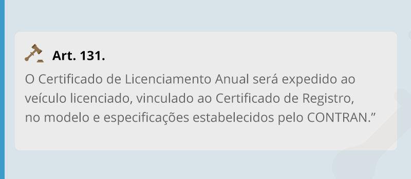 Artigo 131 do código de trânsito brasileiro