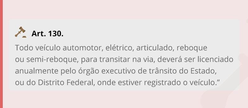 Artigo 130 do código de trânsito brasileiro